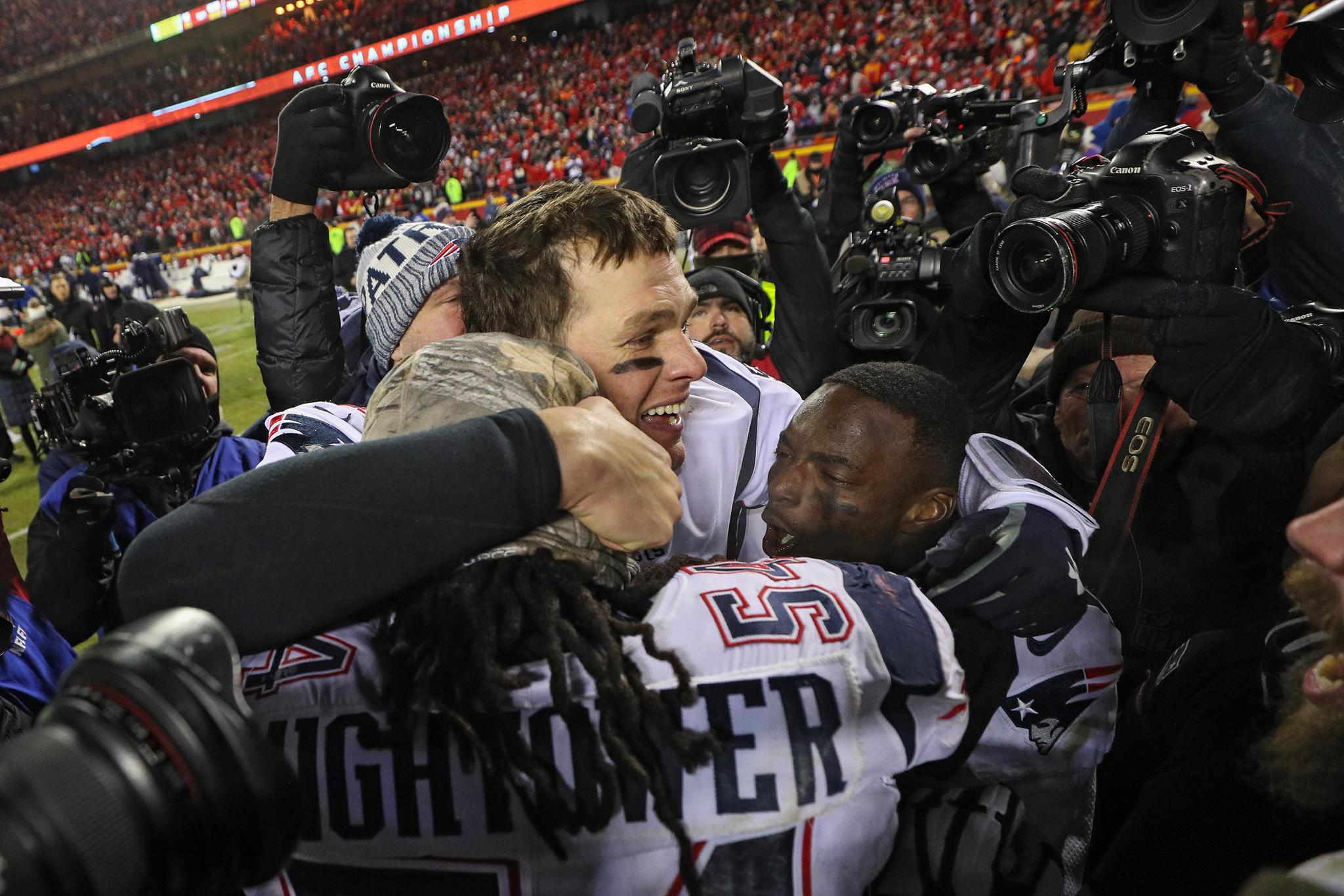 Tom Brady ist nach dem Sieg im Halbfinale gegen die Kansas Chiefs am 20. Januar 2019 sichtlich erleichtert