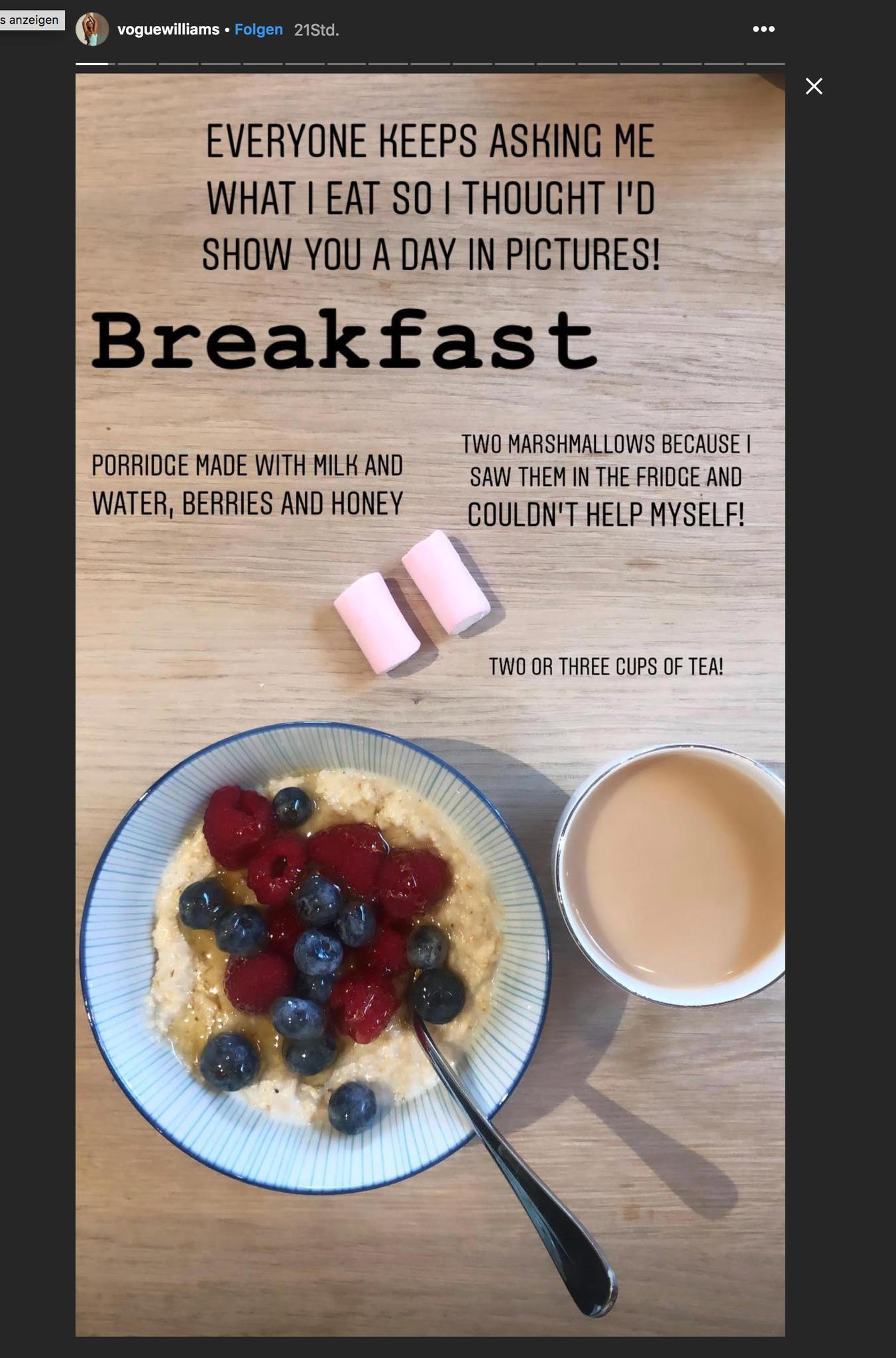 Vogue Williams' Food Journal: Porridge, Tee undMarshmallows zum Frühstück