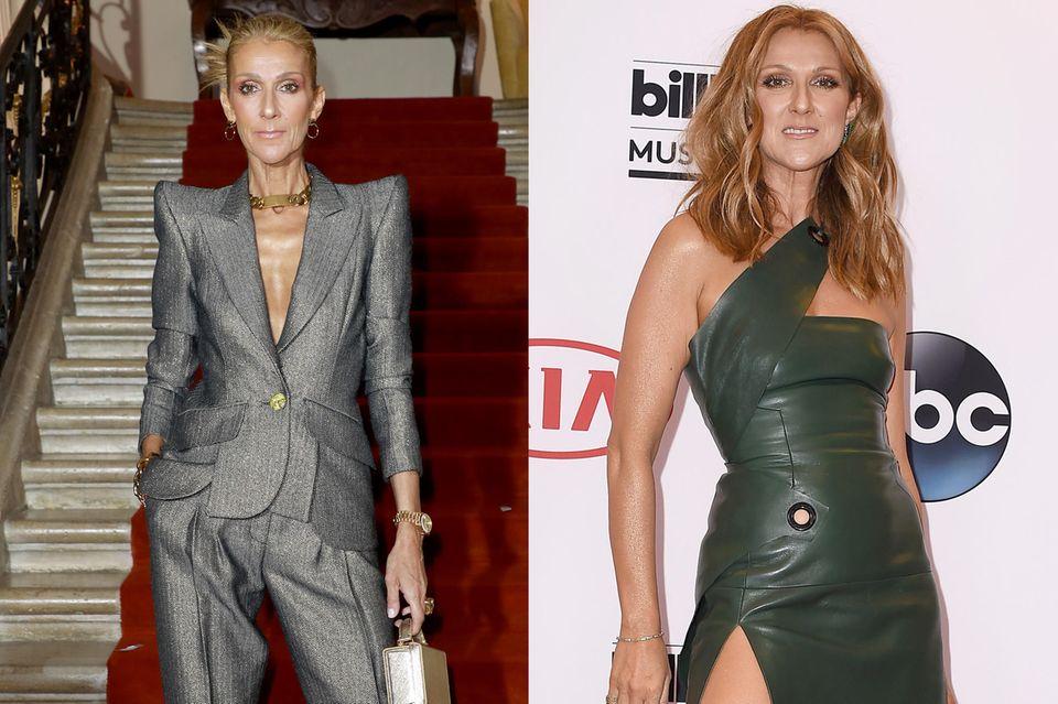 In 2015 (rechts) sieht Céline Dion noch viel gesünder aus als heute, im Januar 2019 (links). Natürlich ist sie damals auch schon schlank, doch bei weitem nicht so abgemagert wie etwa vier Jahre später.