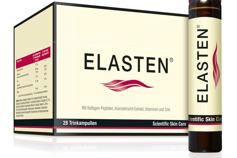 """Kräftigt mit Biotin und Zink:""""Kollagen-Trinkampullen""""von Elasten, 28 Stück, ca. 89 Euro (Apotheke)"""