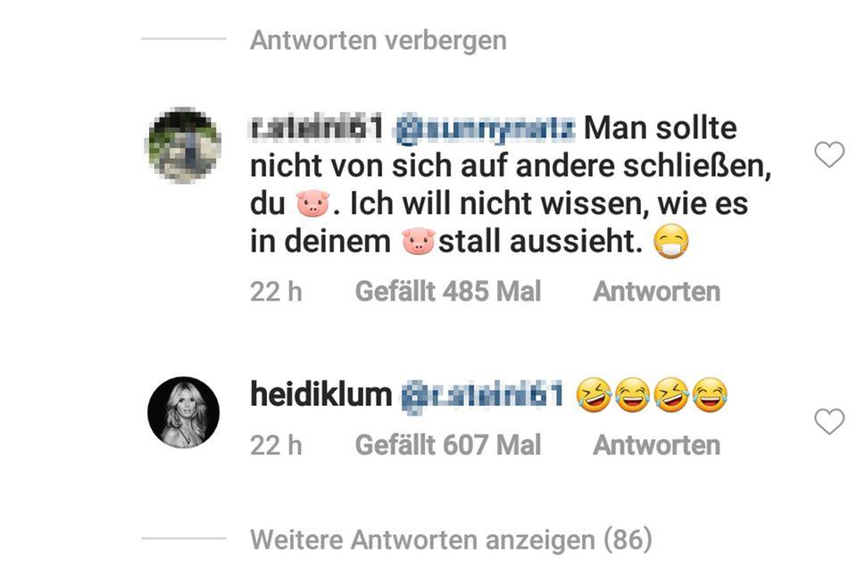 Heidi Klum kommentiert einen Fan-Kommentar auf Instagram
