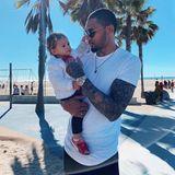 22. Januar 2019  Unter Palmen genießt Dominic die Zeit mit seiner Tochter.