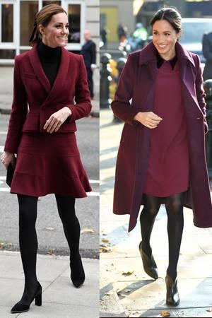 Die Ähnlichkeit dieser Looks, die Catherine und Meghan am gleichen Tag tragen, kann nicht zufällig sein.