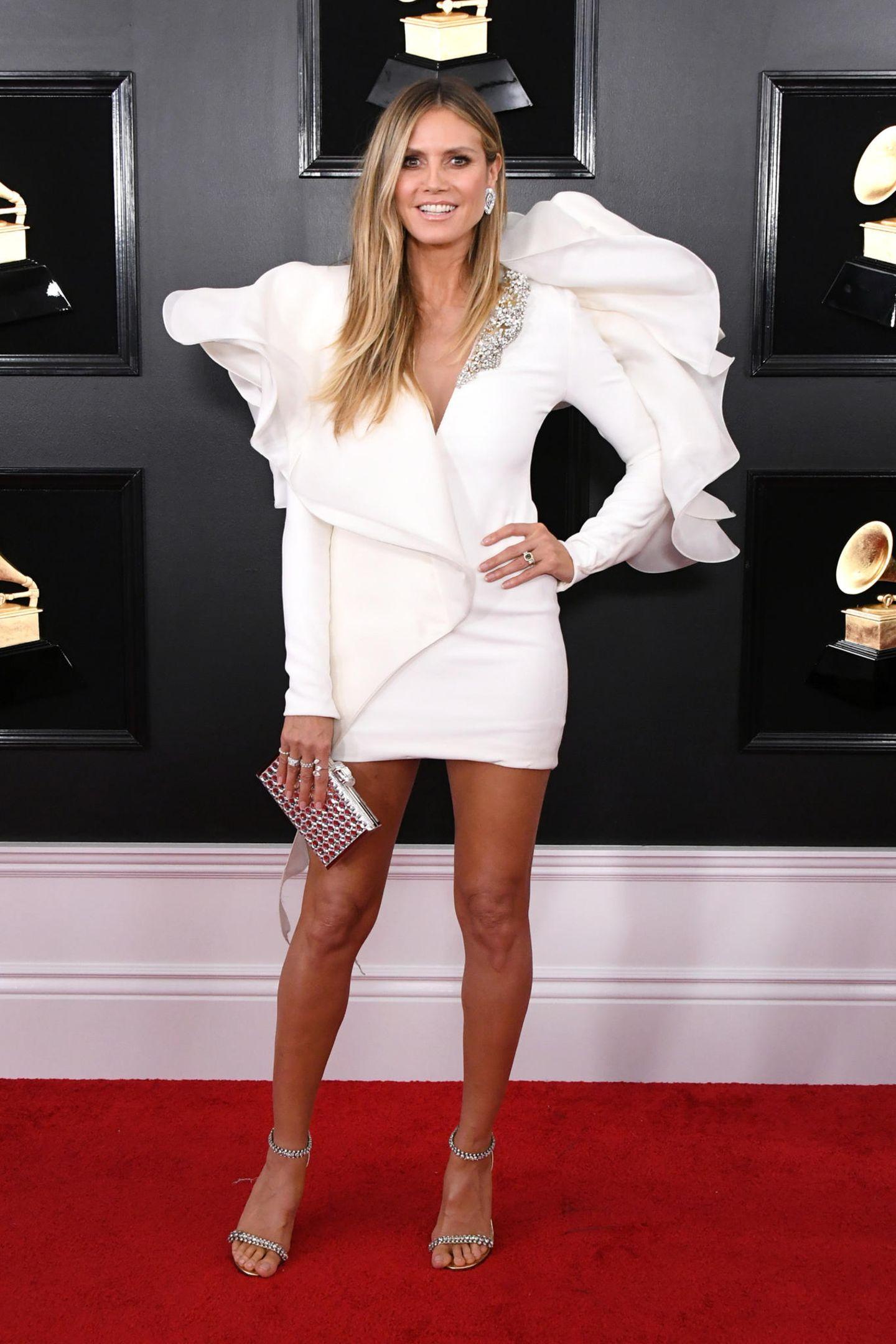 Kam ausnahmsweise mal ohne Tom Kaulitz: Heidi Klum in einem echten Hingucker-Outfit.