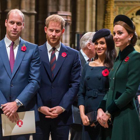 Prinz William, Prinz Harry, Herzogin Meghan und Herzogin Catherine.