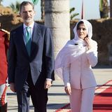 Es ist ein ganz besonderer Hosenanzug, denKönigin Letizia von Spanien am Valentinstagbeim Staatsbesuch in Marokko trägt ...