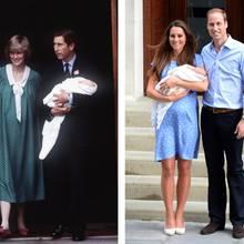 Prinzessin Diana undPrinz Charles sowie Herzogin Catherine und Prinz William mit ihren Neugeborenen.