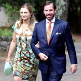 12. Juli 2014  Das Paar kommt zur Taufe von Prinzessin Amalia, der kleinen Tochter von Guillaumes Bruder Prinz Félix und dessen Frau Claire.