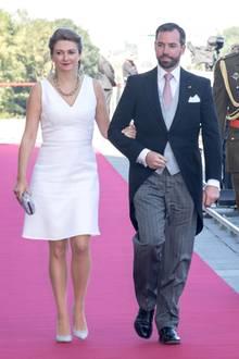 23. Juni 2018  Erbgroßherzogin Stéphanie und Erbgroßherzog Guillaume von Luxemburg kommen zur Messe anlässlich des Nationalfeiertags in die Kathedrale.