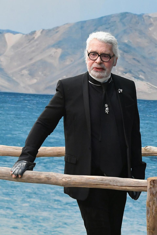 Karl Lagerfeld mitVirginie Viard im Oktober 2018