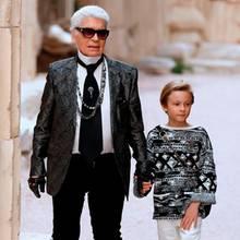 Karl Lagerfeld und sein Patensohn Hudson Kroenig im Mai 2017