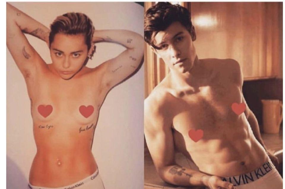 Miley Cyrus parodiert die Calvin-Klein-Kampagne von Shawn Mendes