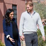 24. Februar 2019  Herzogin Meghan und Prinz Harry Hand in Hand: Das Ehepaar besucht eine Schule in Asni, Marokko.