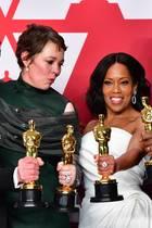 """Rami Malek, Gewinner """"Bester Schauspieler""""; Olivia Colman, Gewinnerin """"Beste Schauspielerin""""; Regina King, Gewinnerin """"Beste Nebendarstellerin"""" undMahershala Ali Gewinner """"Bester Nebendarsteller"""""""