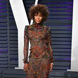 Eindrucksvoll bestickt ist das Alexander-McQueen-Kleid, das Naomi Campbell sich für die Oscar-Nacht ausgesucht hat.