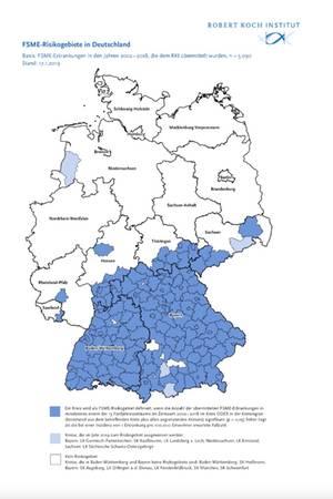 Das Robert Koch Institut informiert über die FSME-Risikogebiete in Deutschland