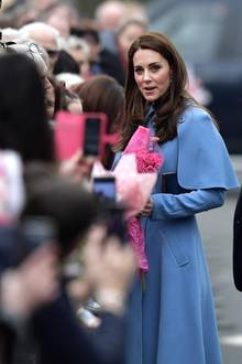 Herzogin Catherine bei einem Spaziergang inBallymena, Nordirland, am 28. Februar 2019