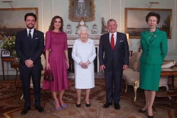 Kronprinz Hussein, Königin Rania, Queen Elizabeth II.,  König Abdullah, Prinzessin Anne