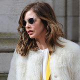 Die englische Moderatorin und Modeberaterin Trinny Woodall versteckt ihren Schmerz hinter einer Sonnenbrille.
