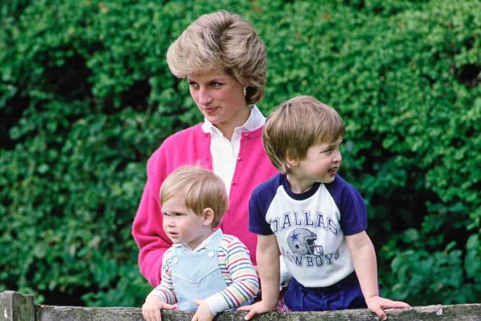 Prinzessin Diana mit Prinz Harry (l.) und Prinz William (r.) am 18. Juli 1986 auf Highgrove, dem Landsitz von Prinz Charles