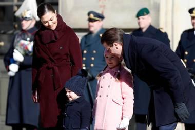Prinzessin Victoria von Schweden mit Prinz Daniel und ihren Kindern Estelle und Oscar anlässlich der Feierlichkeiten zu ihrem Namenstag am 12. März