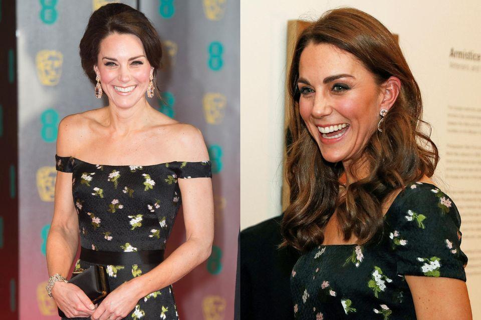 Einzig das strahlende Lächeln und der florale Print sind gleich, den Ausschnitt des Kleides hat die Dreifach-Mama ändern lassen. Das rechte Bild zeigt sie bei den Baftas im Jahr 2017, das linke Bild bei der Portrait Gala im März 2019.