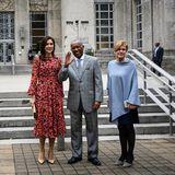 In Houston posierenMary und die dänische Kultur- und Kirchenministerin Mette Bock mit dem Bürgermeister der Stadt, Sylvester Turner.