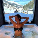 13. März 2019  Jennifer Lange hat schon mal das Badewasser eingelassen. Nach der schweißtreibenden Skifahrt wird sich nun mit Andrej entspannt.