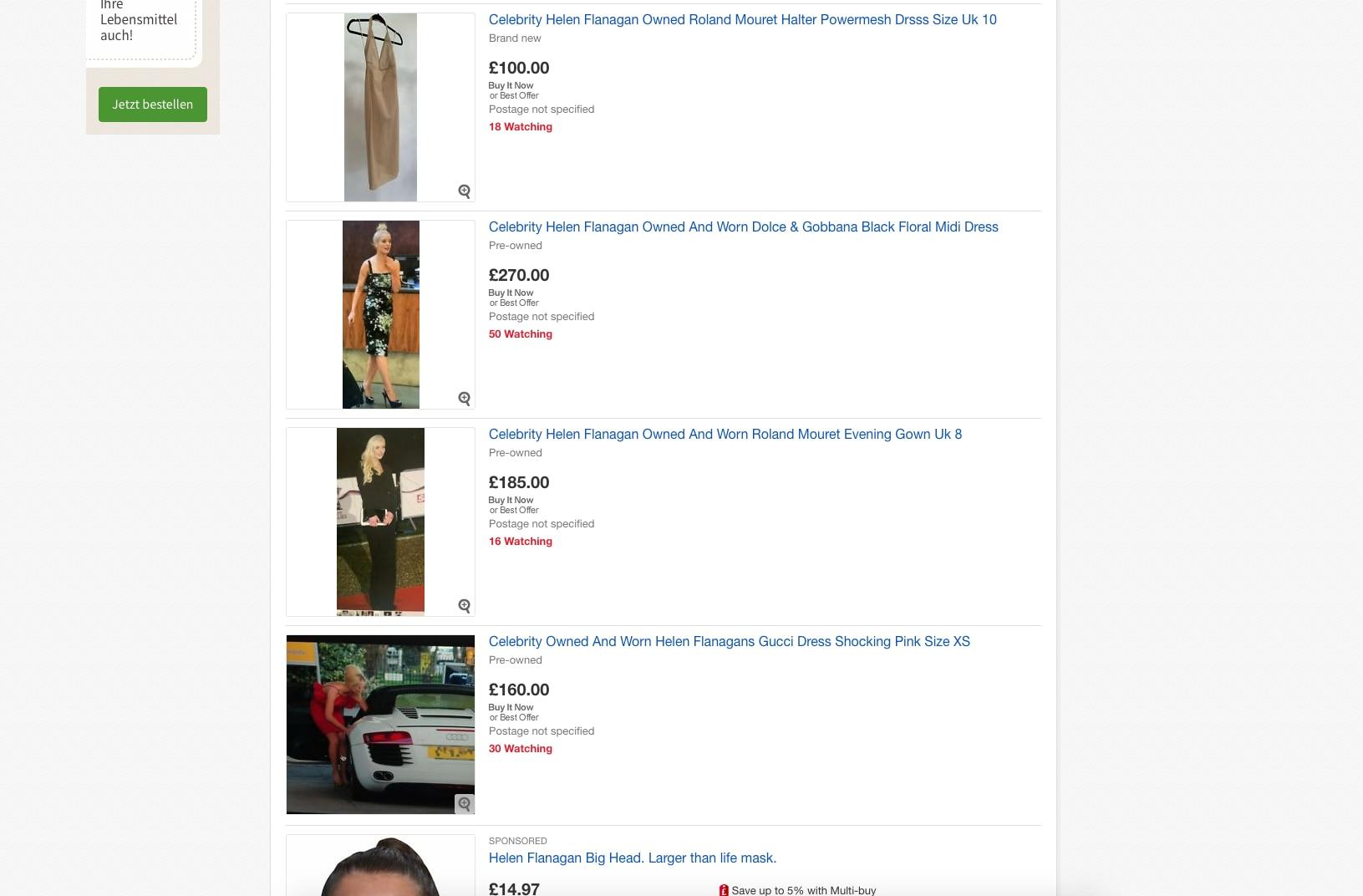 Auf ihrem Ebayprofil verkauft Helen Flanagan aktuell getragene Kleidung von Zara bis Gucci.