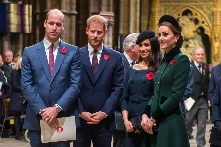 Prinz William, Prinz Harry, Herzogin Meghan und Herzogin Kate