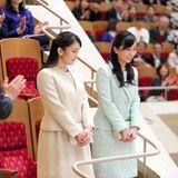 24. März 2019  Prinzessin Mako und Prinzessin Kako genießen ein Konzert des Chiba Prefecture Youth Orchestra in der Suntory Hall in Tokio.