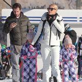 Und noch ein wunderbarer Winterlook von Michelle Hunziker und ihren niedlichen Töchtern Sole und Celeste. Rosa, Lila und Pink machen schließlich fast alle kleinen Mädchen glücklich.
