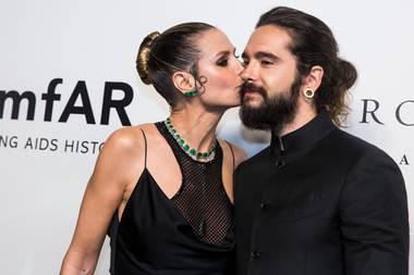 25. März 2019  Auf dem roten Teppich der amfAR-Gala in Hongkong gibt es für Tom Kaulitz ein Bussi von Heidi Klum.