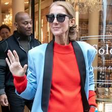 Bei diesem Look muss man glatt zweimal hinsehen. Trägt Céline Dion etwas einen Taucheranzug unter Pullover und Blazer?