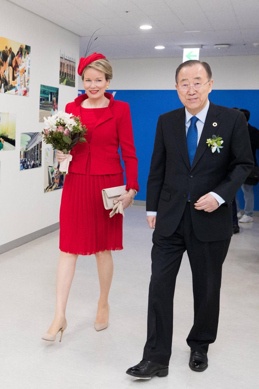 """27. März 2019  Mit PolitikerBan Ki-moon besucht Königin Mathilde das Seminar """"Innovative Solutions for Circular Economy"""" zu den ThemenKlimawandel und nachhaltige Mobilität."""