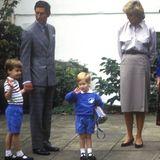 Prinz William, Prinz Charles, Prinz Harry, Prinzessin Diana, Kindergartenleiterin Jane Mynors