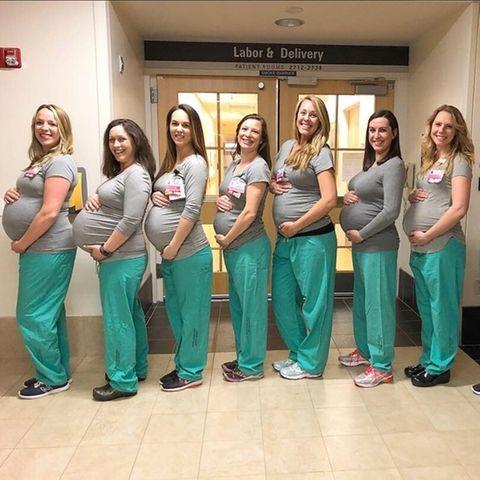 Neun schwangere Krankenschwestern im Maine Medical Center