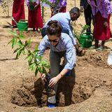 Im Beisein der Schüler pflanzt die dänische Kronprinzessin einen Baum.