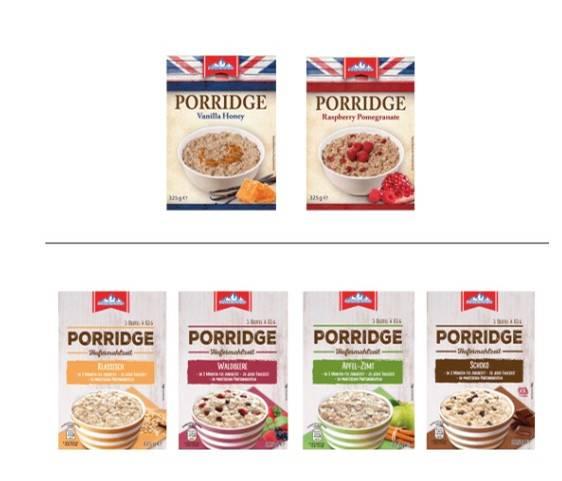 """Wegen Hartplastikteilen zieht Aldi sechs Sorten des """"Gletscherkrone""""-Porridges aus dem Verkauf."""