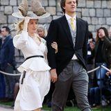 Wow, dieser Look von Prinzessin Ekaterina haut uns fast um. Sie wählt für die Hochzeit von Eugenie und Jack in Windsor einen schlichten Zweiteiler, doch toppt ihren Style mit einem wirklichen Hingucker-Hut.