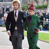 Zu der Hochzeit von Prinzessin Eugenie kommt Alessandra de Osma in einem grünen Kleid, das aufwendig mit Blumen verziert ist. Perfekt dazu passen ihr Hut sowie ihre Clutch.