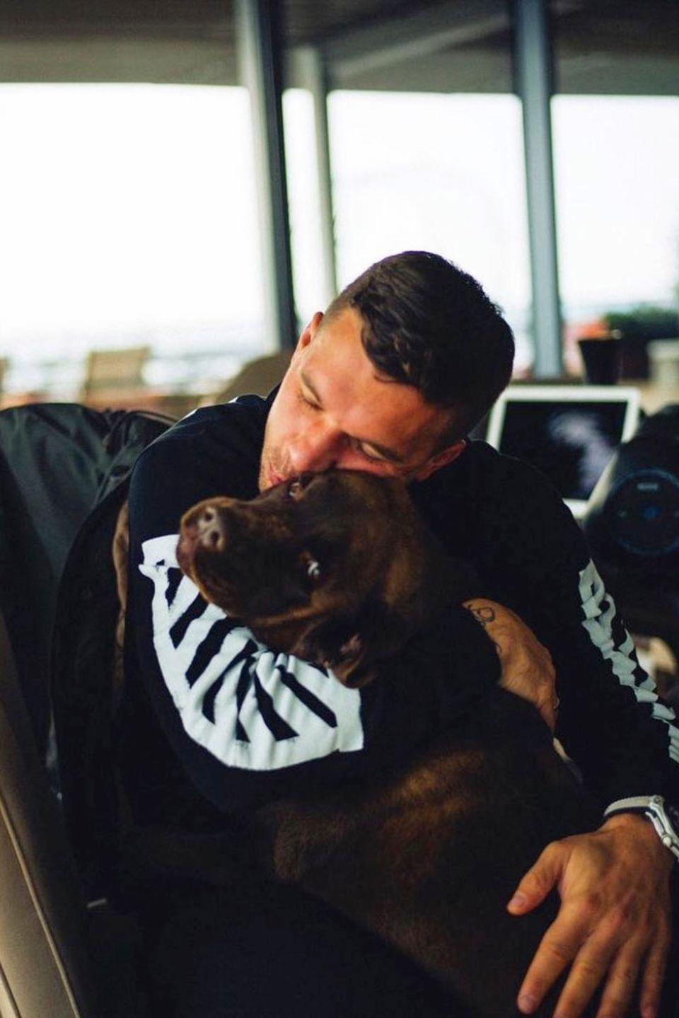 """Lukas Podolski schenkt seinem schokobraunen Labrador regelmäßigeine Knuddeleinheit. Wie süß das aussieht, zeigt er uns auf seinem neuesten Instagram-Posting. Dazu schreibt der Fußball-Star: """"Wer kann da widerstehen?"""" – wir könnten es jedenfalls auch nicht."""