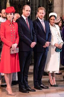 """11. März 2019  Für den Gottesdienst zum """"Commonwealth Day"""" in Westminster Abbey zeigt sich die Royal Family von seiner besten Seite."""