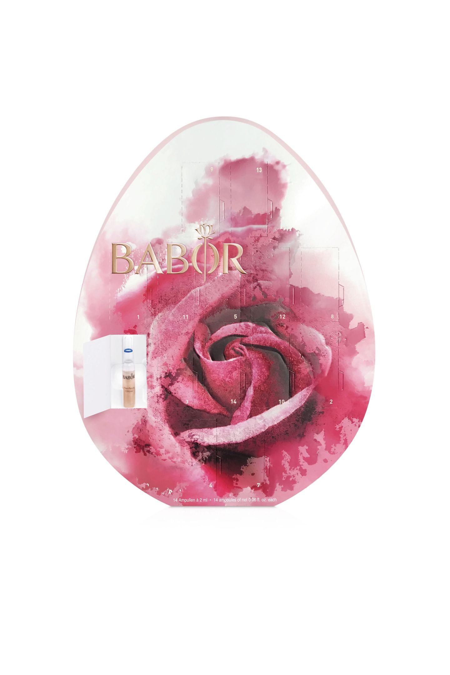 Von diesem Osterei haben Sie länger etwas: Das Ampullen-Osterei von Babor liefert eine luxuriöse 14-Tage-Intensiv-Kur aus 14 kraftvollen Wirkstoffkonzentraten in Ampullen-Form. Ca. 47 Euro.