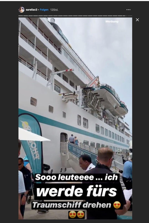 """Sarah Lombardi gibt auf Instagrambekannt, dass sie für """"Das Traumschiff"""" drehen wird."""