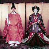 10. April 1959  60 Jahre Eheglück: Kaiser Akihito und Kaiserin Michiko hatten sich im August 1957 auf einem Tennisplatz kennengelernt, nach der Verlobung am 27. November 1958 fand die Trauungnach shintoistischer Tradition statt.