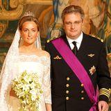 12. April 2003  Der belgische Prinz Laurent heiratet in Brüssel seine Verlobte, die BritinClaire Louise Coombs und macht sie damit zur Prinzessin.