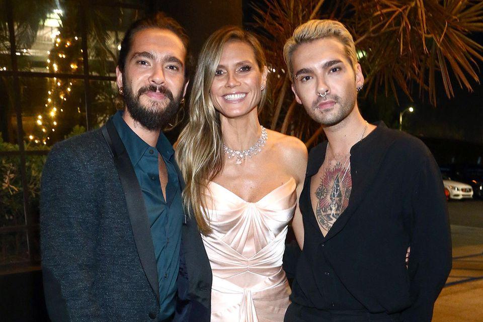 Bill Kaulitz mit seiner Bald-Schwägerin Heidi Klum und Tom Kaulitz