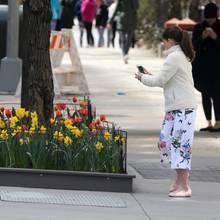 Schönen Blumen kann keine Frau widerstehen. Auch diese junge Dame freut sich über die Blütenpracht von Tulpen und Narzissen in den Straßen New Yorks und hält sie mit Fotos auf ihrem Smartphone fest. Wer diese Mini-Influencerin ist?