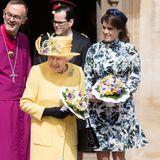 """Zusammen mit Queen Elisabeth besucht Prinzessin Eugenie den traditionellen """"Royal Maundy""""-Gottesdienst in der St George's Chapel auf Schloss Windsor. Und für diesen Anlasshat sie sich den perfekten Frühlingslook ausgesucht."""